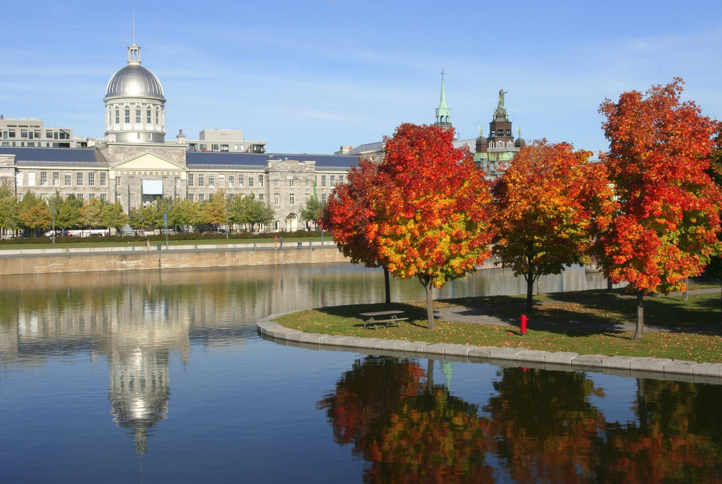 Old Montreal, Bonsecours Market reflections in autumn